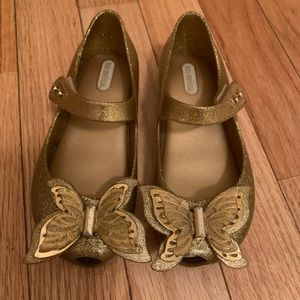 Mini Melissa // authentic gold butterfly flats